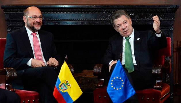 Reunión entre el presidente del Parlamento Europeo, Martin Schulz, y el presidente de Colombia, Juan Manuel Santos.