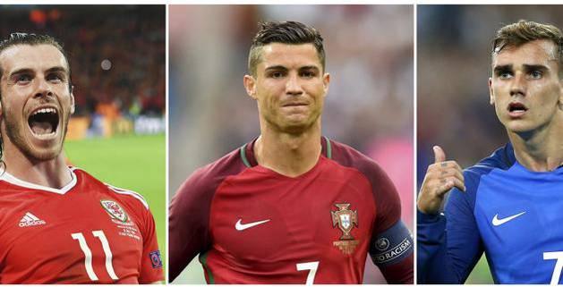 Gareth Bale (i), Cristiano Ronaldo (c) y Antoine Griezmann.