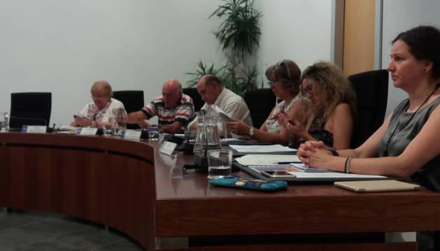 Los concejales Isabel Mendía, Luis Mari Iriarte, José Luis Sánchez y María Jesús Nieto, de UPN; Carmen Rubalcaba y Silvia Pérez, de Zizur Unido.