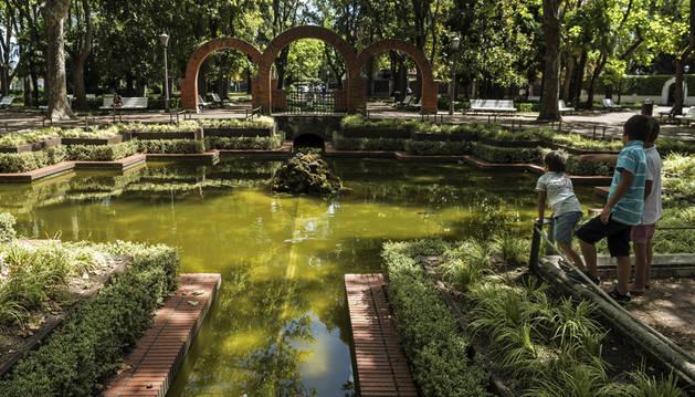 Aspecto que presentaba esta semana el estanque del parque de la Media Luna, en Pamplona.
