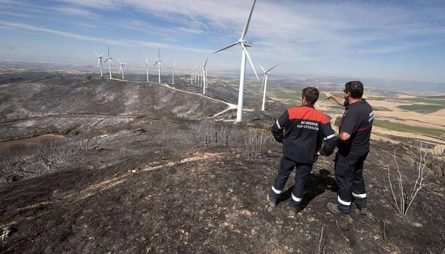Imágen aérea del incendio de Tafalla.