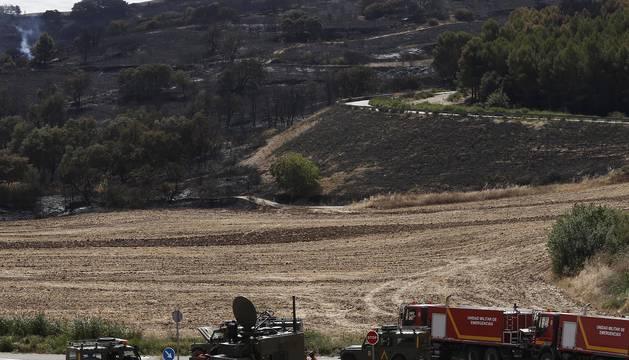 Imágenes del incendio declarado este jueves en Tafalla.