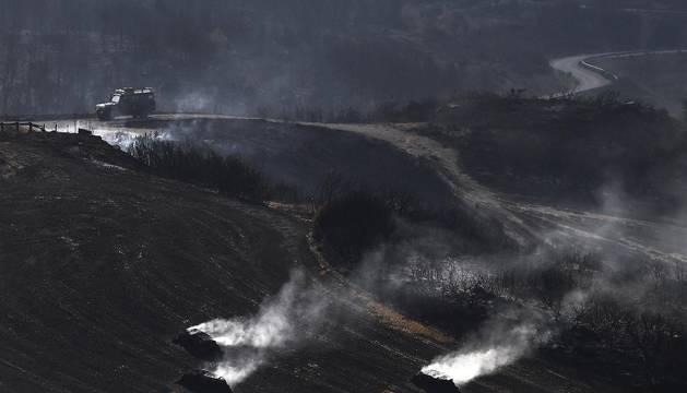 El incendio declarado Tafalla deja zonas devastadas