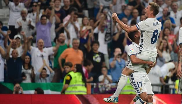 Kroos celebra el 2-1 contra el Celta.