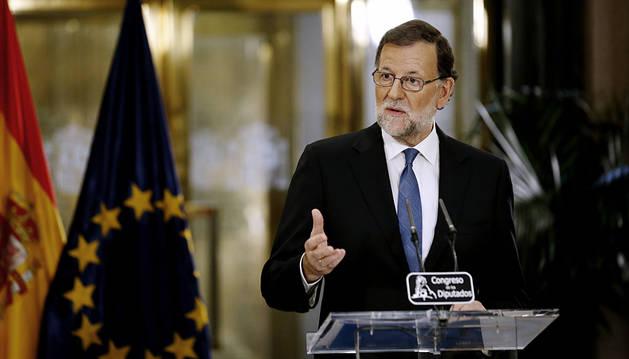 Rajoy, durante su rueda de prensa.