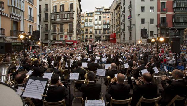 La Pamplonesa en el concierto presanferminero el 1 de julio de este año en la Plaza Consistorial.