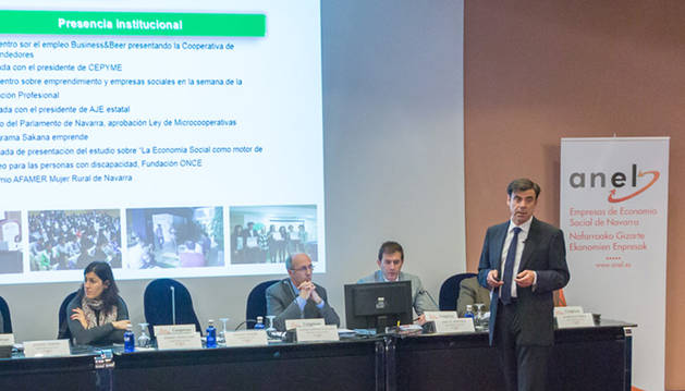 Ignacio Ugalde (dcha), presidente de ANEL, en la Asamblea celebrada en mayo que reunió a empresas de Economía Social.