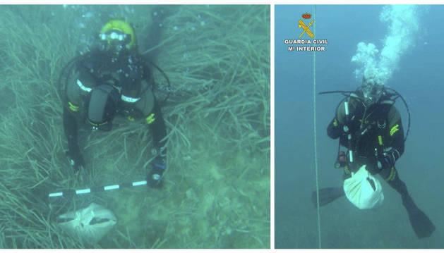 Fotografías facilitadas por la Guardia Civil, del Grupo Especial de Actividades Subacuática (Geas) que ha hallado cinco o seis huesos envueltos en una sábana.