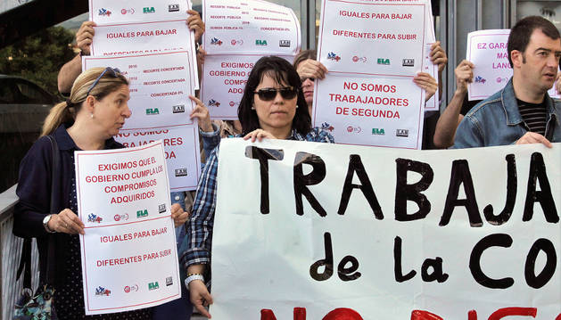 Sindicatos de la concertada en una protesta conjunta en junio en Educación en demanda de la subida salarial.
