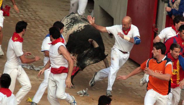 Julen Madina entra en la plaza de toros perseguido por un enorme toro de Miura que le venía pisando  los talones.