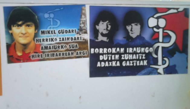 Imagen de varias fotos de apoyo a presos de ETA, tomada el 9 de julio en el gaztetxe del chalé de Caparroso.