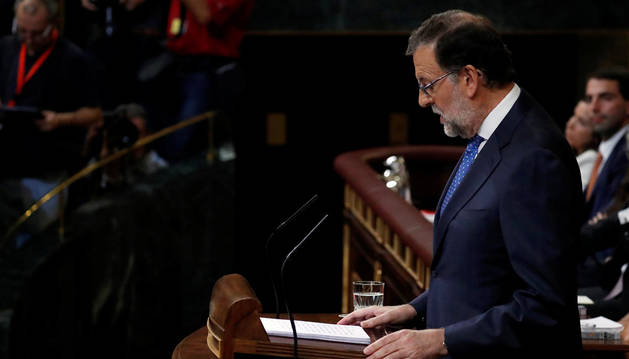El presidente en funciones, Mariano Rajoy, durante su discurso del debate de investidura.