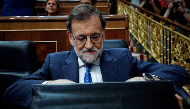 Rajoy, durante la primera jornada de la sesión de investidura.