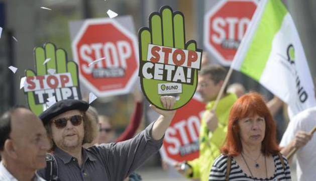 Protestas en Alemania contra el TTIP.