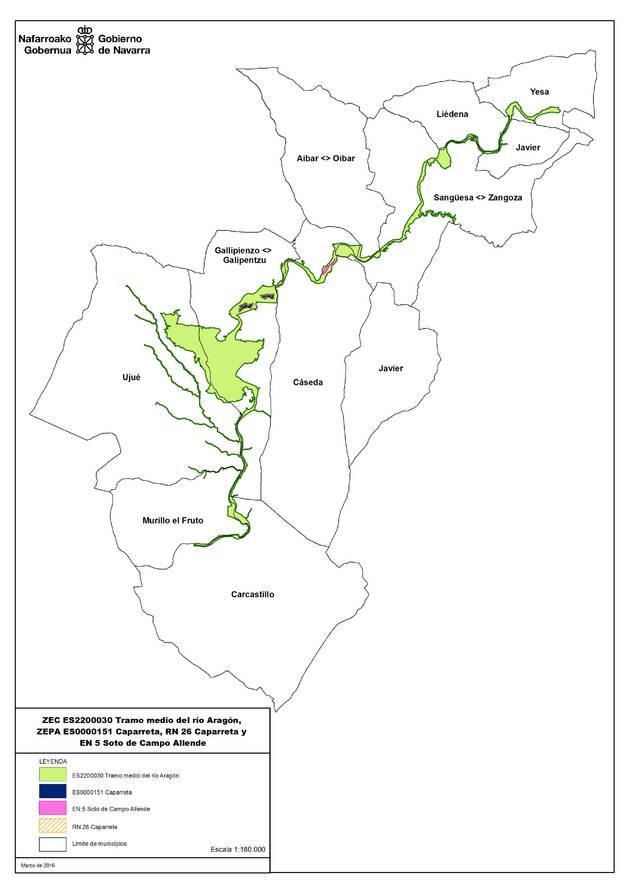 Declarada zona especial de conservación el tramo medio del río Aragón.
