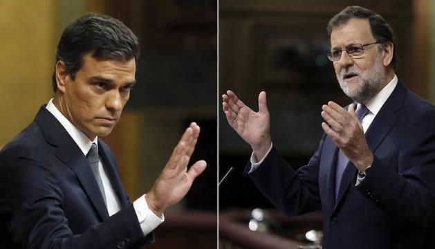 Pedro Sánchez  (izda.) y Mariano Rajoy, durante sus intervenciones en la jornada de este miércoles del pleno de investidura.