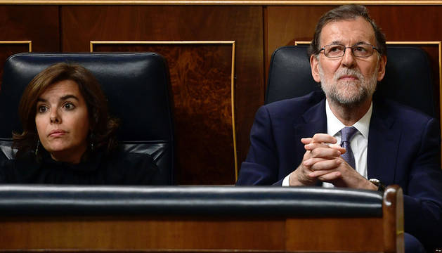 Rajoy y Santamaría, en el Congreso.