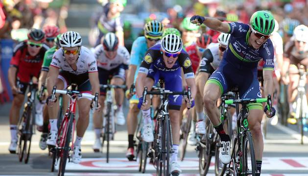 Keukeleire celebra su victoria de etapa en Bilbao.