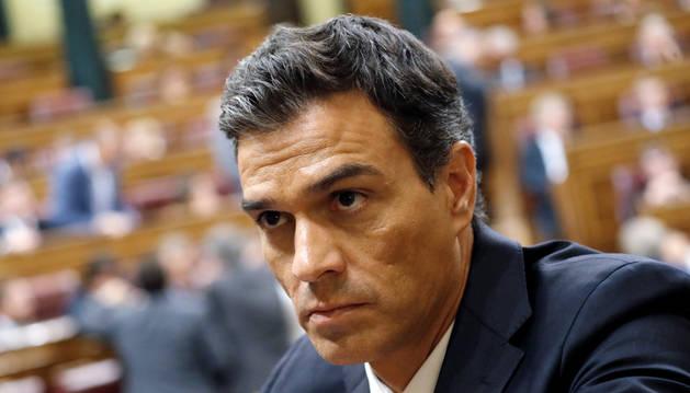 Pedro Sánchez, durante el debate de investidura del 31 de agosto.