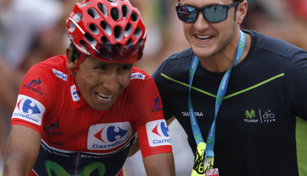 Nairo Quintana, en la meta de Formigal.