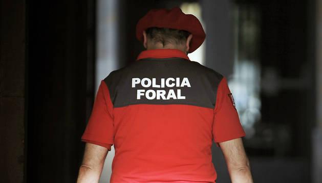 Un agente de Policía Foral entra en el Palacio de Navarra.