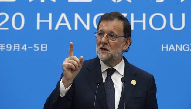 Rajoy, durante su comparecencia en la cumbre del G20.