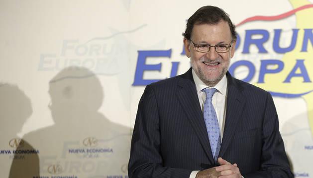 El jefe del Ejecutivo en funciones y líder del PP, Mariano Rajoy, en un desayuno de Fórum Europa.