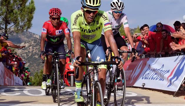 Contador, Froome, Quintana y Chaves cruzan juntos la meta.