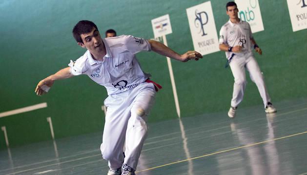 Aitor Etxeberria fue el mejor pelotari en la eliminatoria de cuartos de final en Mendavia.