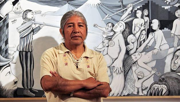 Juan Manuel Cuichán, en una exposición anterior en Pamplona.