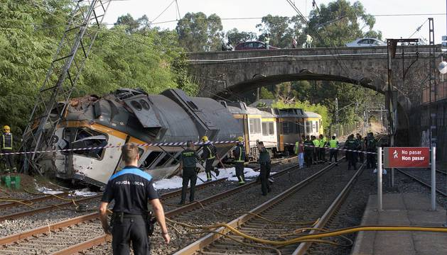 Descarrilamiento de un tren en O Porriño (Pontevedra)