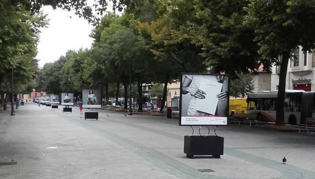 Varias fotografías de la muestra fotográfica expuesta en el paseo de Sarasate.