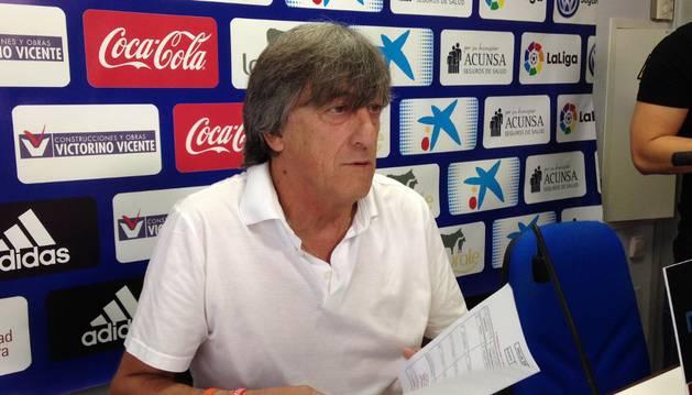 Enrique Martín durante su comparecencia de hoy previa al partido ante el Real Madrid
