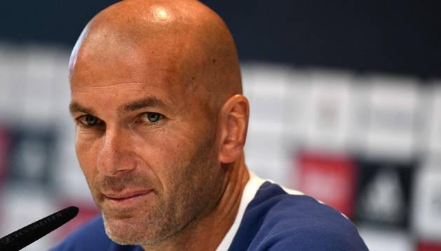 Zinedine Zidane durante la comparecencia previa a su partido ante Osasuna