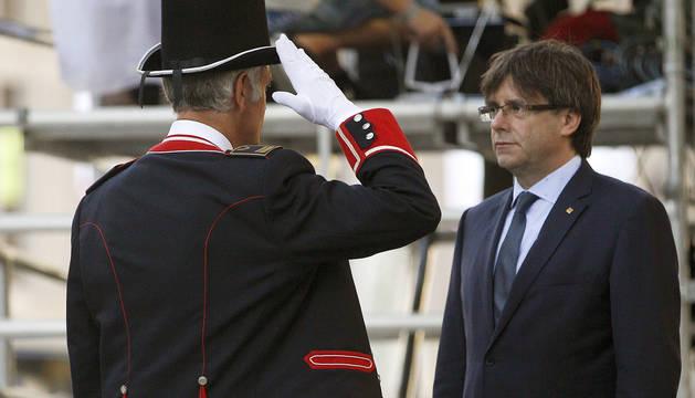 Puigdemont, durante los actos de la Diada.