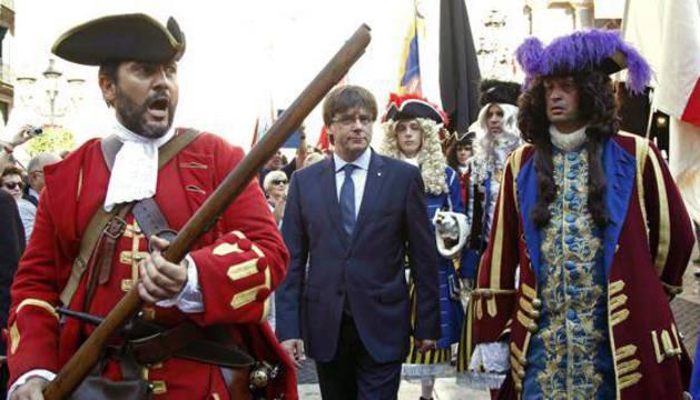 Carles Puigdemont en los actos conmemorativos de la Diada.