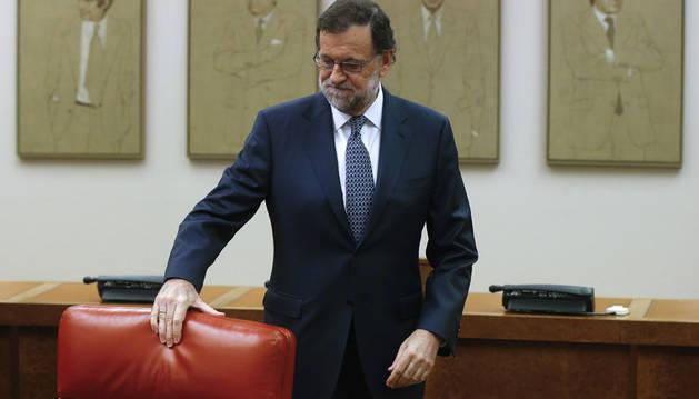 Mariano Rajoy, a su llegada a la reunión que ha mantenido en el Congreso con los diputados del PP