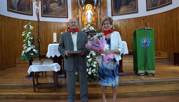 Benjamín Franco las Heras y Pilar Ontanedo Prieto, tras el homenaje.