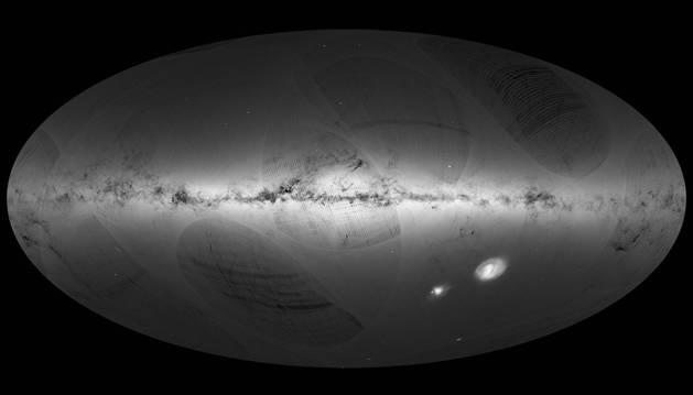 Una de las imágenes del mapa 3D de la Vía Láctea que está creando la misión de la ESA 'Gaia', que recopilará información de más de 1.000 millones de estrellas.