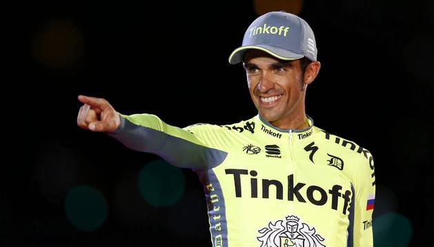 Contador en su llegada a Madrid en la edición de este año de la Vuelta a España