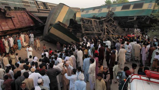 Lugar de la colisión de los dos trenes.
