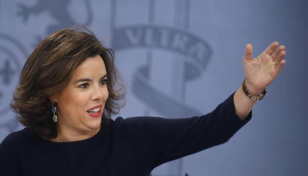 Soraya Sáenz de Santamaría, durante la rueda de prensa tras la reunión del Consejo de Ministros.