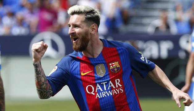 Messi celebra el primer gol del Barcelona.