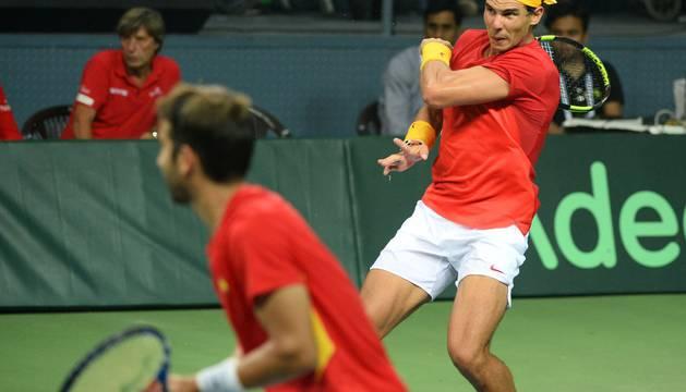 Rafa Nadal y Marc López.