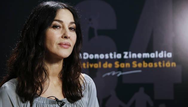 La actriz Monica Bellucci durante la entrevista concedida este lunes en San Sebastián.