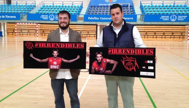Andoni Moriano y Eduardo Jover durante la presentación de la campaña de abonados del Basket Navarra