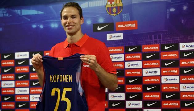 Petteri Koponen, en su presentación como jugador del Barcelona.