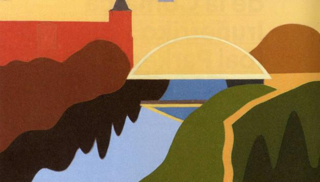 El óleo 'Río Arga' de Pedro Salaberri es uno de los que sirve de soporte en la memoria.