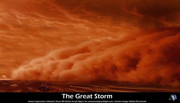 Simulación artística de una tormenta de polvo sobre la superficie de Marte.