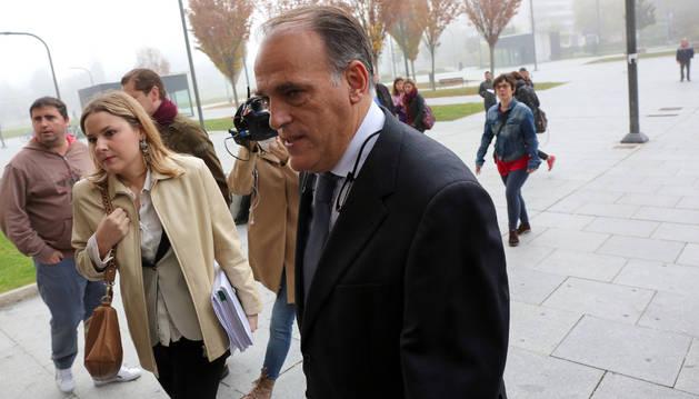 Javier Tebas en una de sus últimas visitas a Pamplona para testificar en el 'Caso Osasuna'